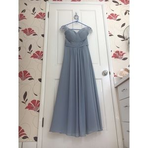 JJ's House Dusty Blue Bridesmaid Gown + Hair Piece